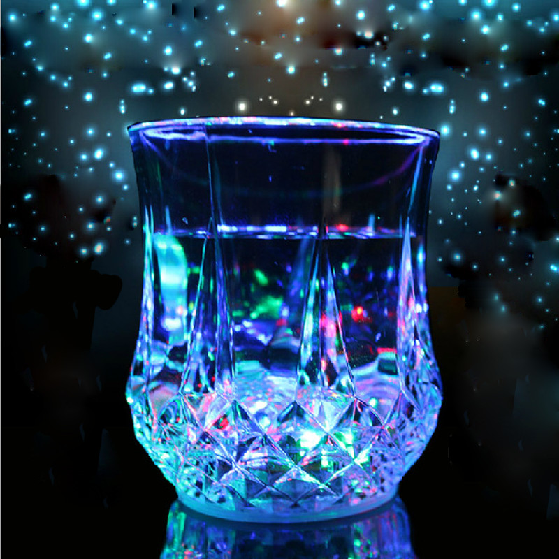 LED Cup Flashing Shot Glasses Water Induction Flashing Luminous Light Up Wine Coffee Set Shull Cup For Bar Party(China (Mainland))