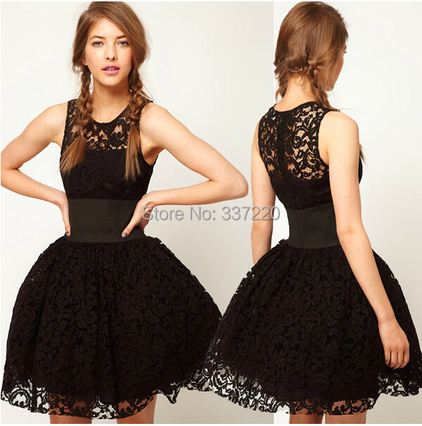 Cheap black lace homecoming dresses