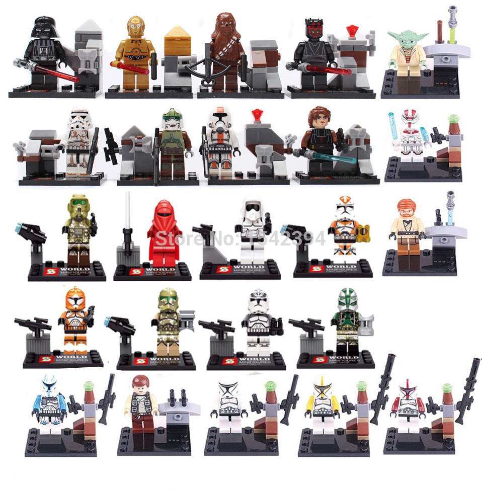 Гаджет  Star Wars Minifigures 24pcs/lot The Force Awakens Clone Trooper Yoda Building Blocks Sets Model Bricks Toys Lego Compatible None Игрушки и Хобби