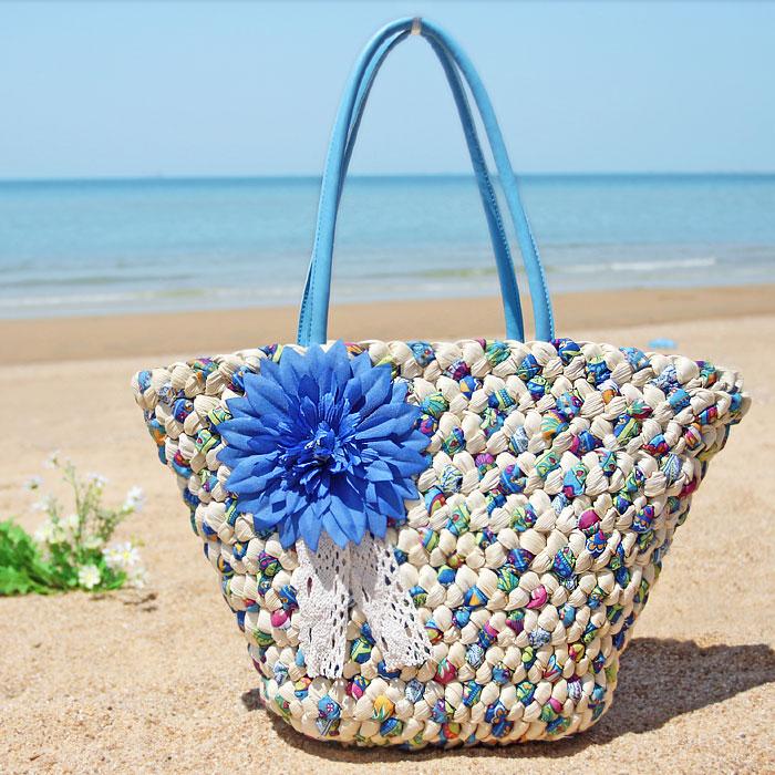 2016 New Fashion Womens Straw Beach Handbags Summer Weave Woven Shoulder Tote Shopping Bag Purse Handbag Straw Travel Beach Bags