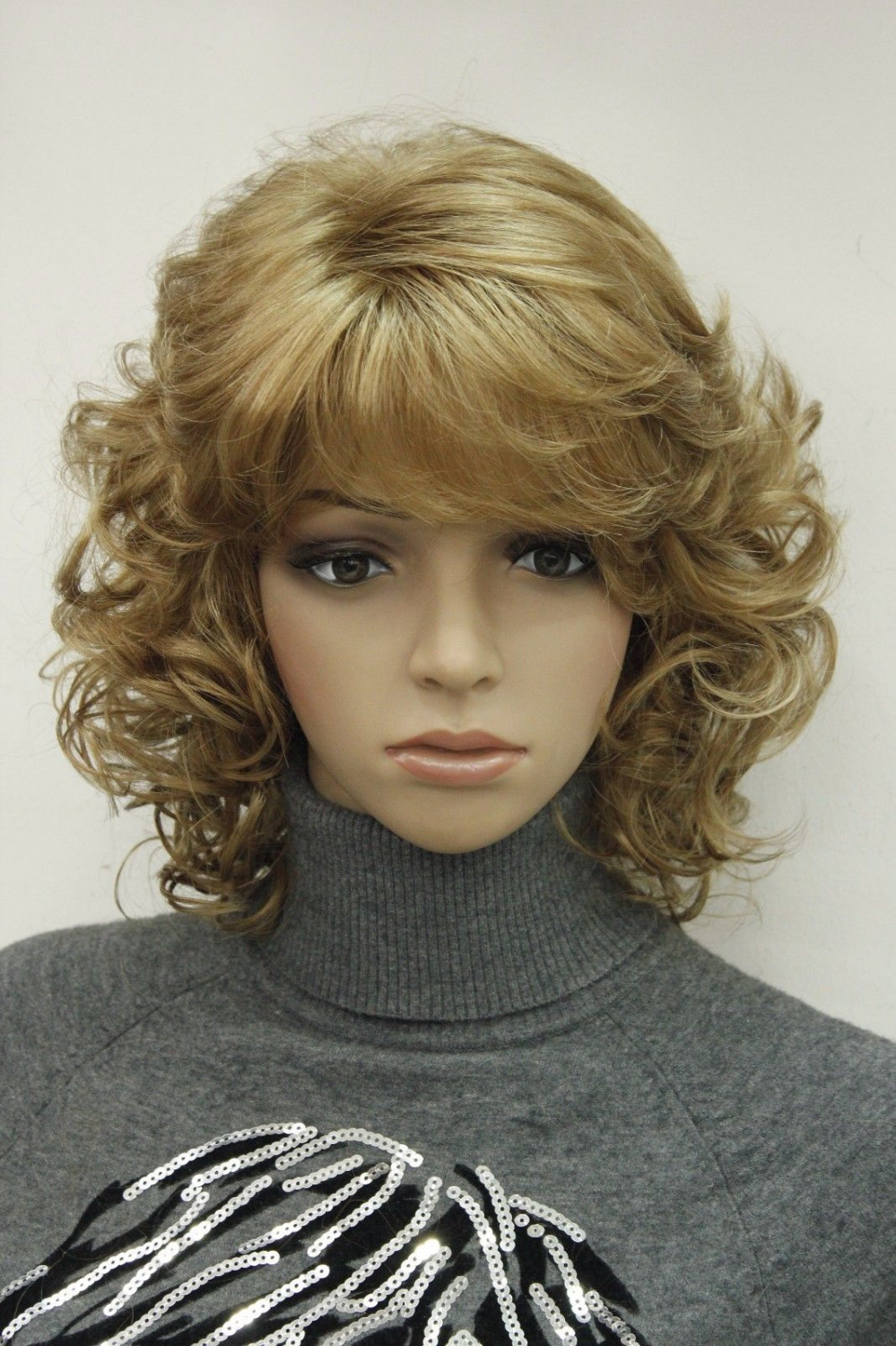 shun Fashion Light Strawberry Blonde Short Curly Women Synthetic Fluffy Wig Hc-TLD209 26% discount(China (Mainland))