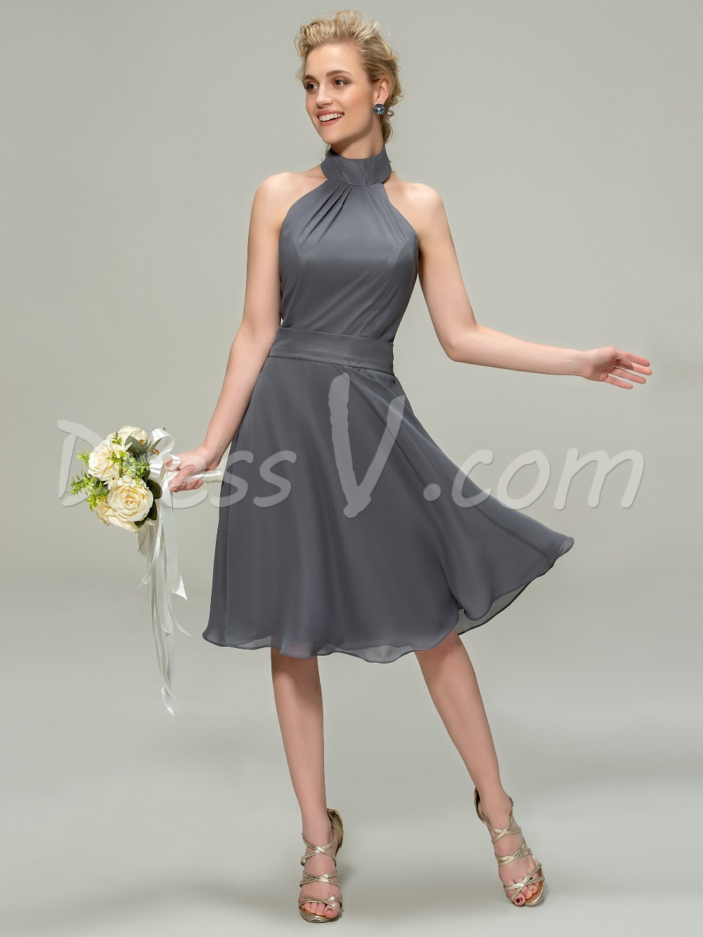 Elegant knee length a line halter bridesmaid dress cheap for Aline halter wedding dresses
