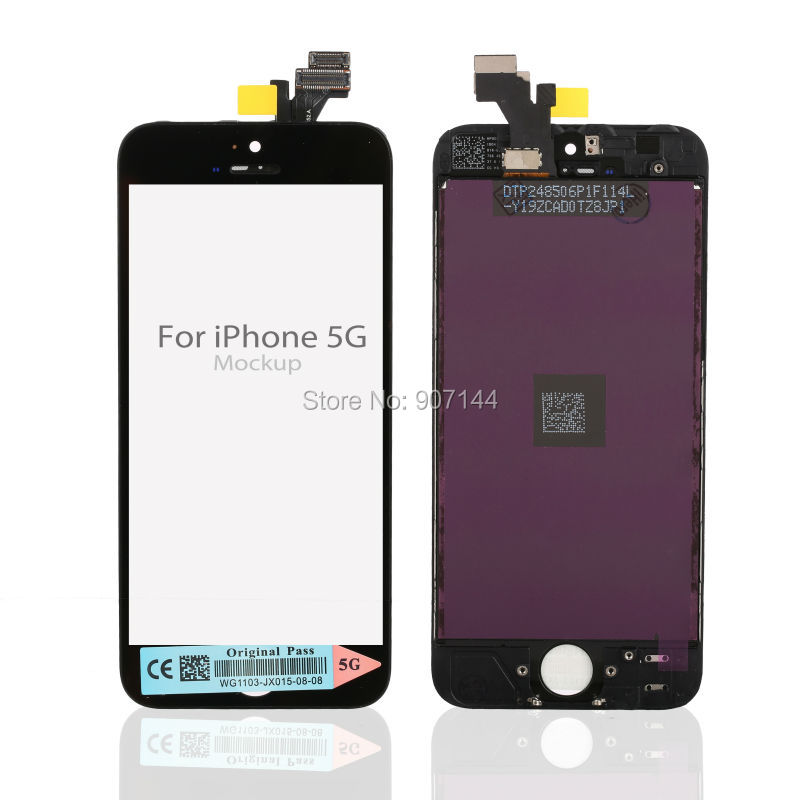20pcs/lot Replacement screen For iPhone 5 LCD assembly White or Black Mix Free shipping(China (Mainland))