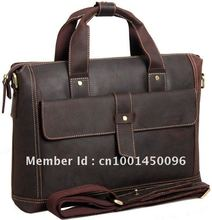 Free shipping Men's Vintage Style crazy horse leather dark brown genuine Bull Leather briefcases messenger bag shoulder bag 1020(China (Mainland))