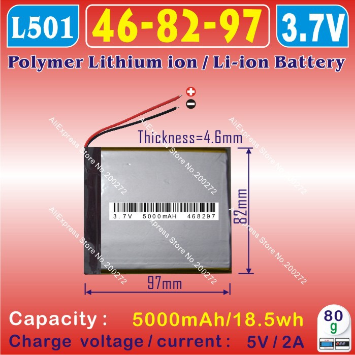 [L501] 3.7V,5000mAH,[468297] Polymer lithium ion / Li-ion battery for tablet pc,power bank,onda,cube,ployer,Vido,PIPO(China (Mainland))