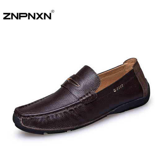 handmade Genuine leather men shoes Casual Flats driving shoes,Business Slip On Loafers men flat shoes original ZNPNXN brands