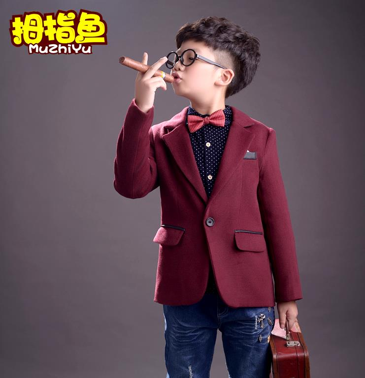 2015 hot child suit small plaid boy blazers Sets Vest Pant 3-piece Kid Clothing Sets flower girl formal(China (Mainland))