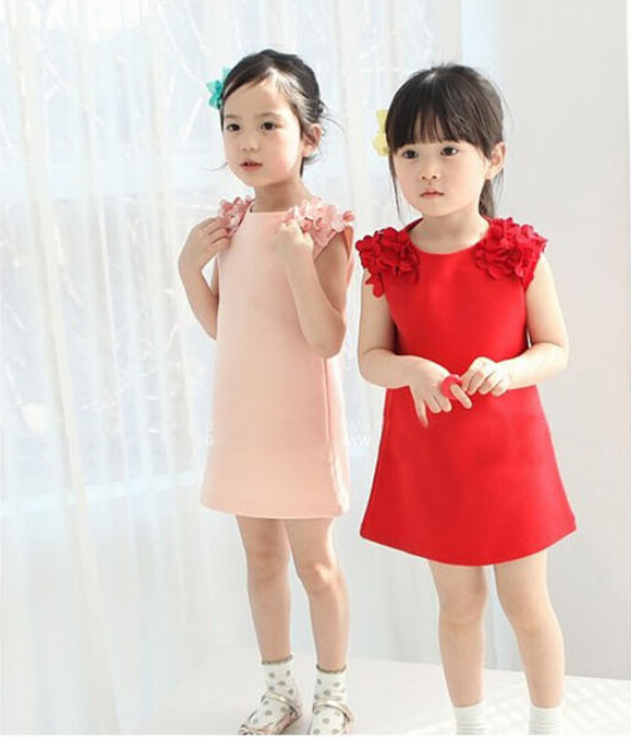 Retail hot summer cotton flower sleeveless minnie baby girl dress casual sweet kids clothes vestidos infantis 2-7 age(China (Mainland))