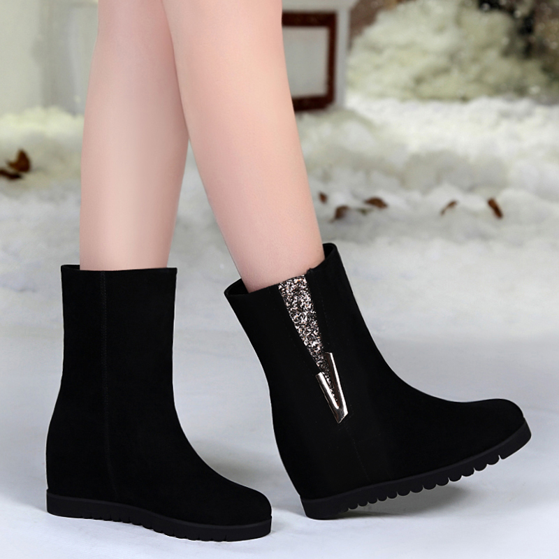 2015 genuine leather flat heel elevator female boots scrub female boots martin boots women's shoes