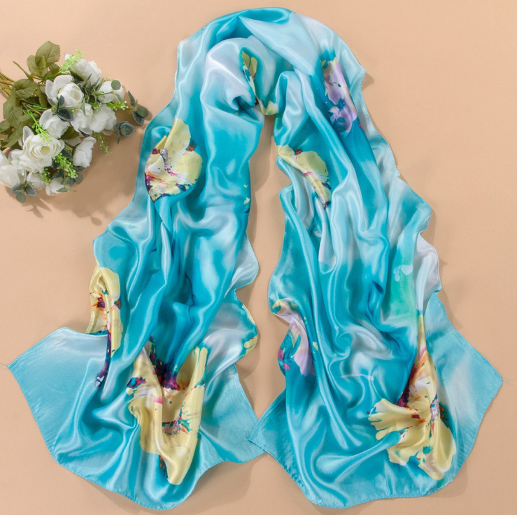 2014 New Fashion Women Silk Scarves&Wraps Autumn Winter Hottest Length 170 CM 7Colors Imitation Silk Scarfs Tying Encharpes(China (Mainland))