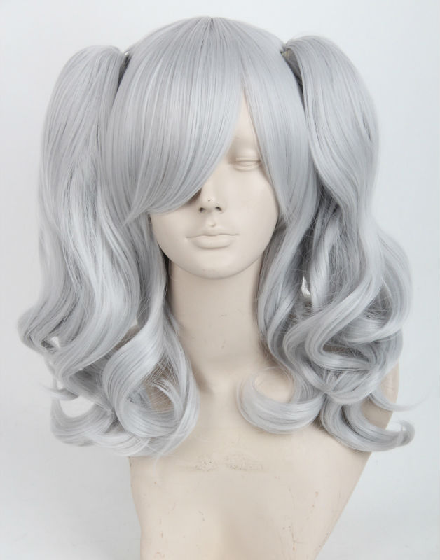 Cos U Game Kantai Collection Kashima Short Gray Halloween Party Wig with Two Curly Ponytail+wig cap<br><br>Aliexpress