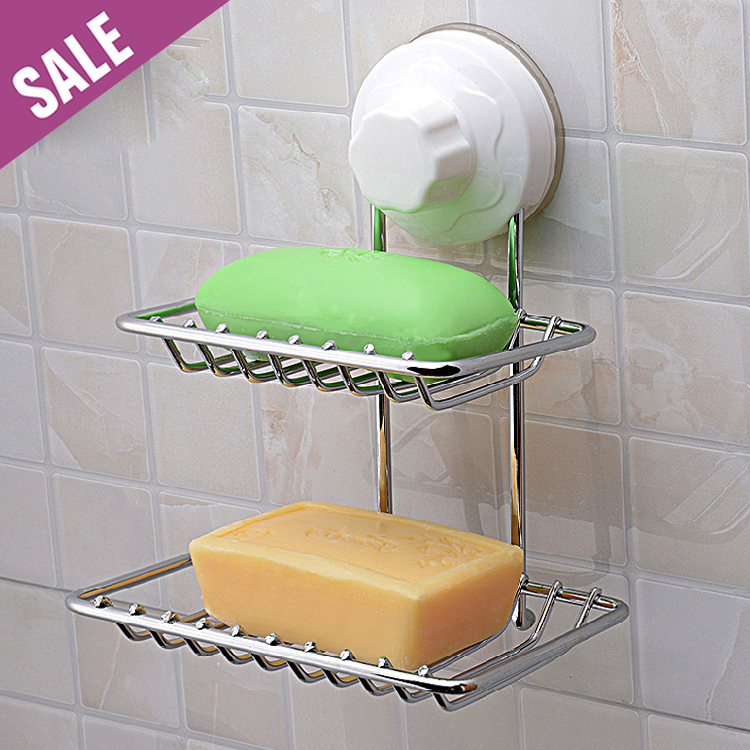 1 PC Modern Quality Stainless Steel Dual Tier Bath Soap Shelf,Bathroom Soap Holder, Suction Cup Wall Mounted Bath Storage holder(China (Mainland))
