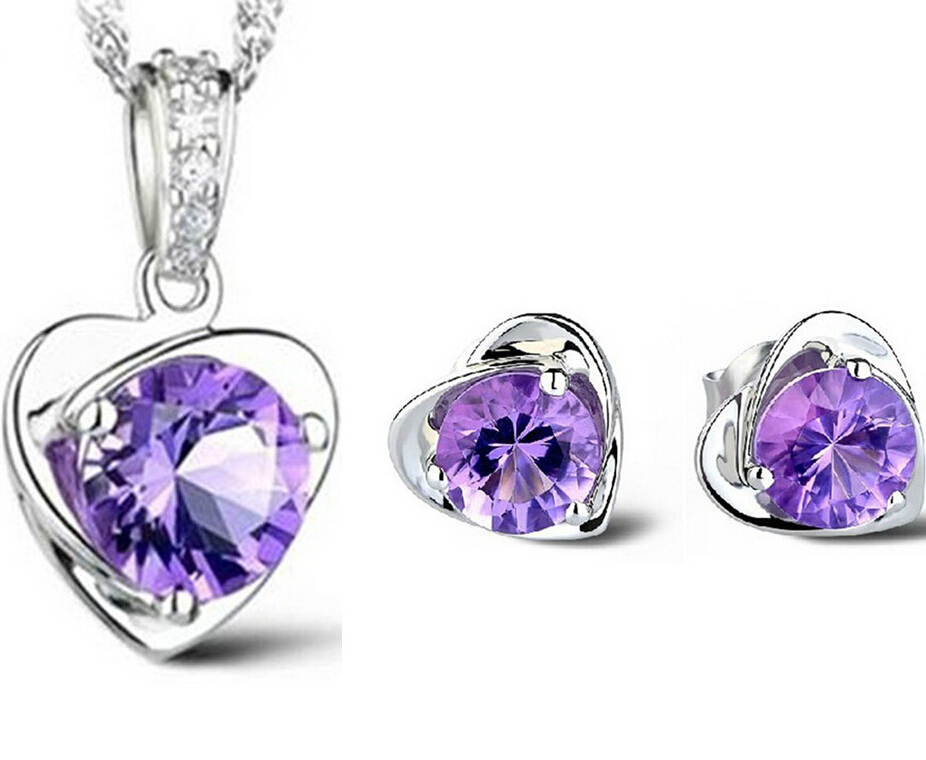 Hot sale new crystal heart Jewelry Sets Silver plated Heart Necklace Earrings Top quality beautiful wedding
