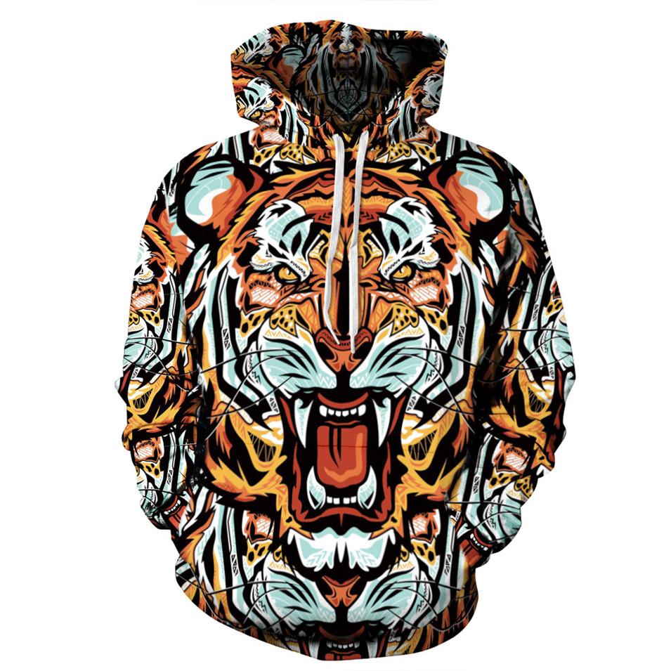 new 2016 Hip Hop tiger Hoodie 3d printed men women sweatshirts Front Pocket Loose Fit Drawstring coat hooded clothing tops(China (Mainland))