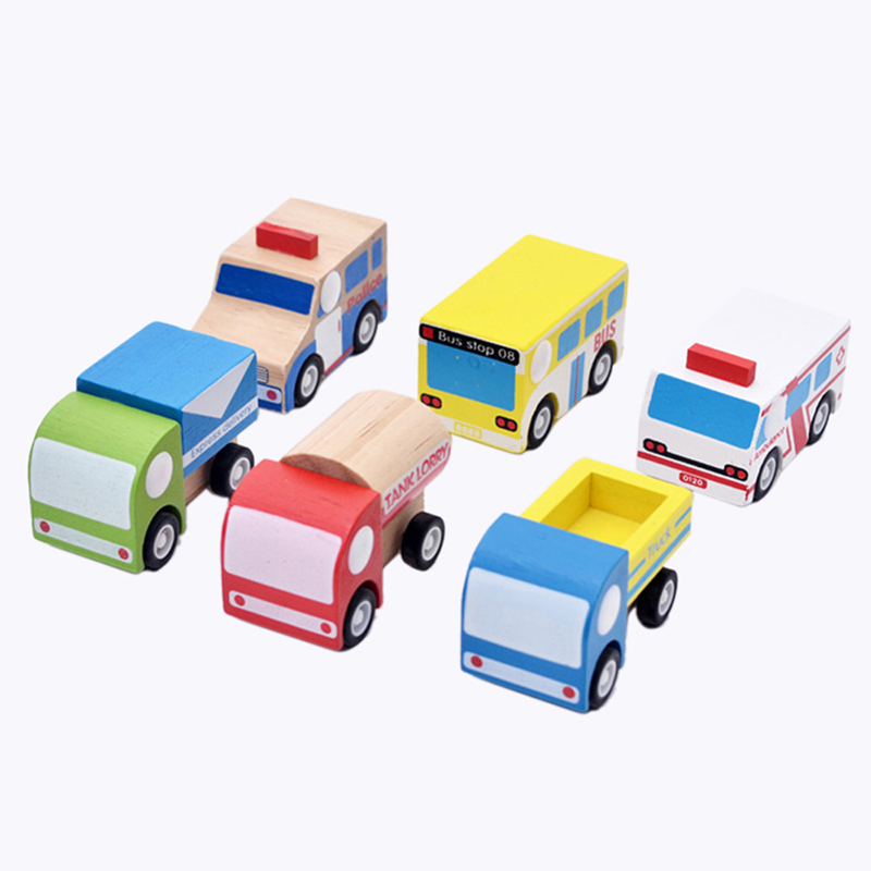 Wooden Pull Back toys car Kids Education Toys 6 Different Styles Colorful MINI Wooden Car Toy Model Best Gift For Children Baby(China (Mainland))