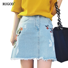Buy 2017 Summer Denim Skirt Flower Embroidery Vintage Women Skirts High Waist Jeans Skirt Tessel Blue Mini Skirts Female for $13.99 in AliExpress store