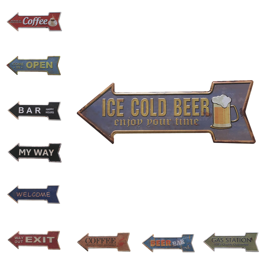 Antique Arrow Shape Hand Painted Cast Iron Metal Pointing Direction Signboard Plaques for bar pub cafe