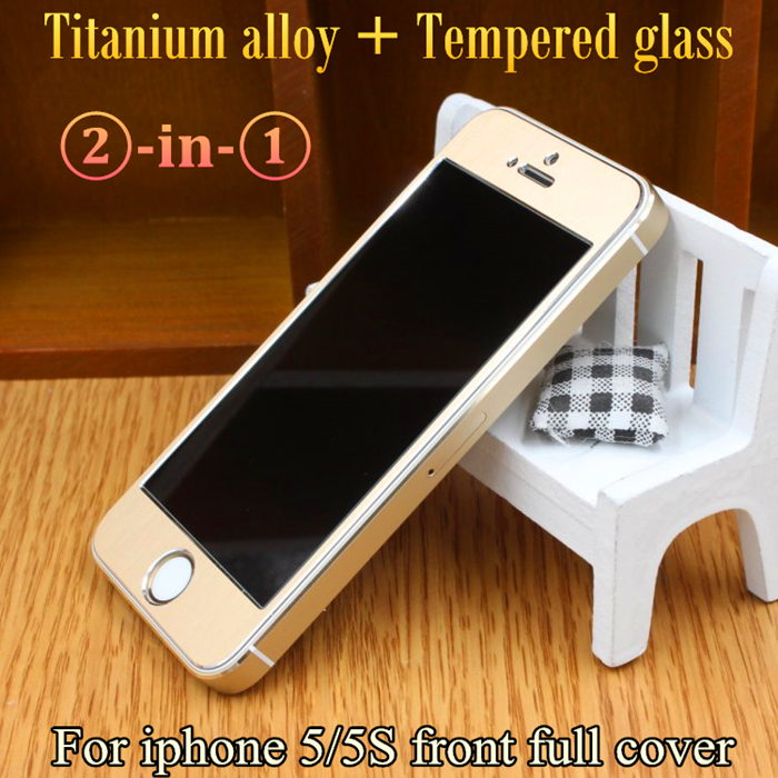 New arrival 5S glass film 3D Premium Full Cover Titanium alloy Tempered Glass Screen Protector protective film for iPhone5/5G/5S(China (Mainland))
