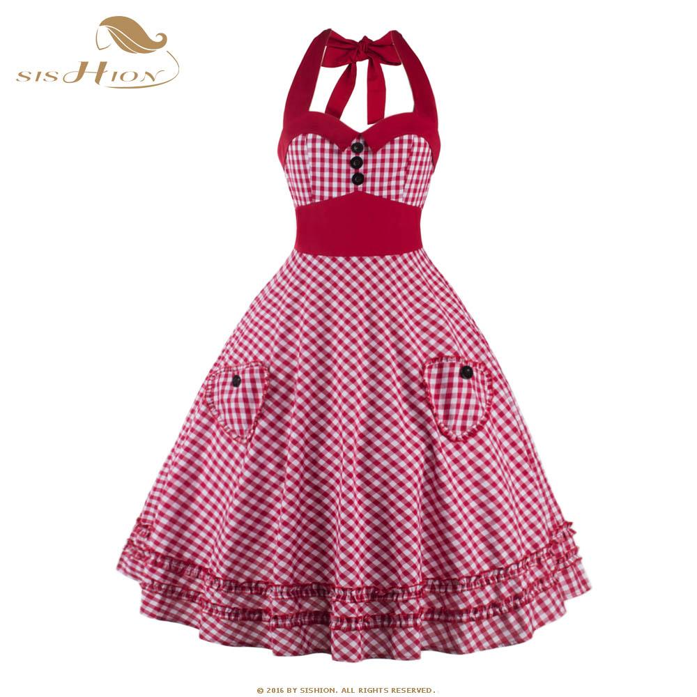 SISHIOH Women font b Plaid b font Dress Plus Size Summer Clothing 2016 Retro Swing Short