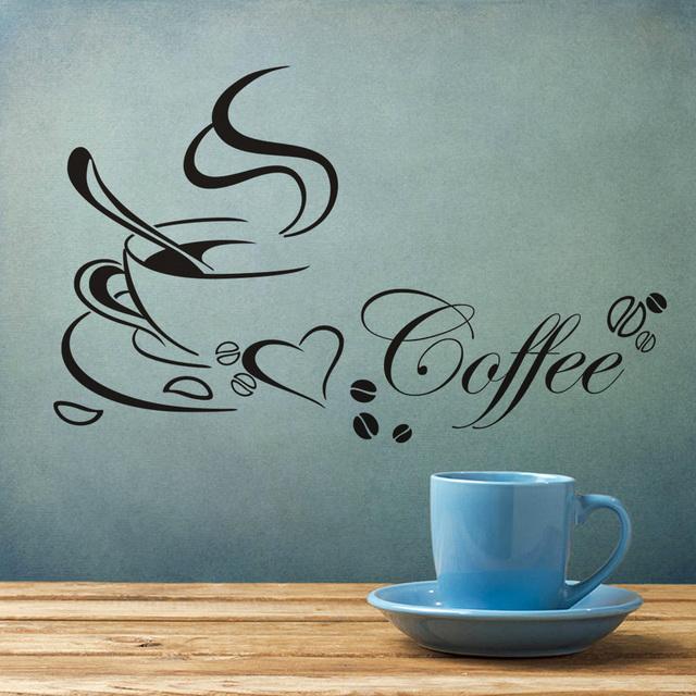 Кофе чаша винил цитата съёмный стена наклейки кухня ресторан своими руками для дома декор стена искусство