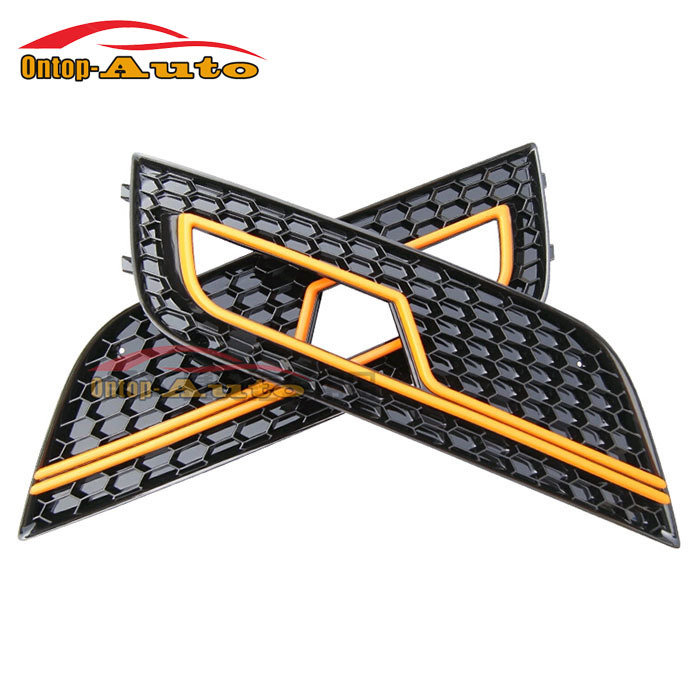 Glossy black+ Orange Line Honeycomb Front Bumper Fog Lights Cover Part Accessories for Audi A4 S4 RS4 B9 2013-2015<br><br>Aliexpress