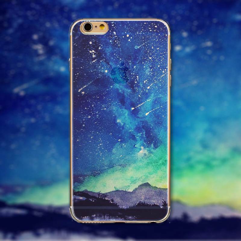 Stunning Senery Case For iPhone 6 6S Soft TPU Silicon Cover Nature Mountain Ocean City Sunrise Sunst Aurora Painted