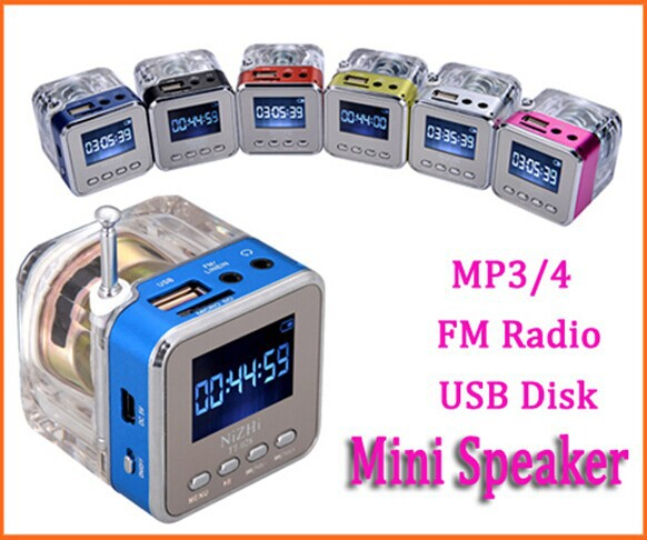 Hot sale 6 color Digital fm radio Micro SD/TF USB Disk mp3 radio LCD Display Internet Radio with speaker(China (Mainland))