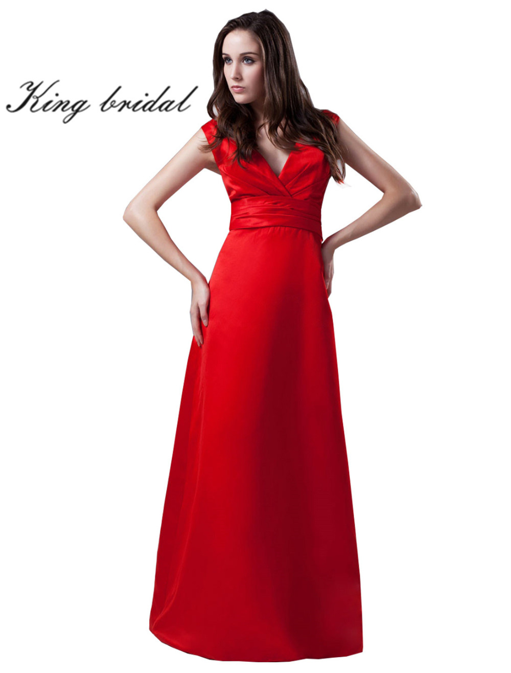 2017 Elegant Floor Length Evening Dresses Sexy Red V Neck Empire A Line Prom Party Gowns Long Cheap Formal Dress New Arrival(China (Mainland))