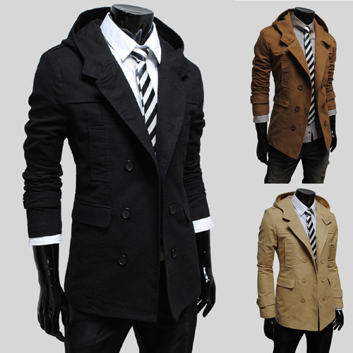 new men's windbreaker jacket fashion double-breasted design. Hooded coat Commerce mens trench - E-Fashion Men store