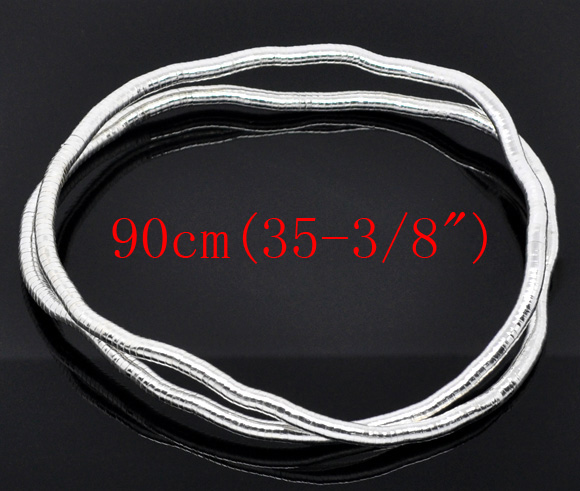 2 Silver Plated Flexible Snake Chain Necklaces 90cmx6mm(China (Mainland))