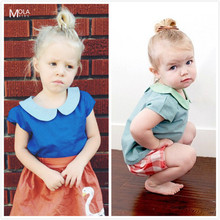 Bebe 2016 Baby Girls Summer T-shirt Kids Cute Peter pan Collar Tops Toddler Infant Blouse Children Girl Clothes Costume