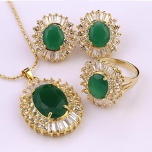Noblest 18K Gold plated for brides Multi jade jewellery designs Necklace/ring/earring wholesale Quartz stone crystal(China (Mainland))