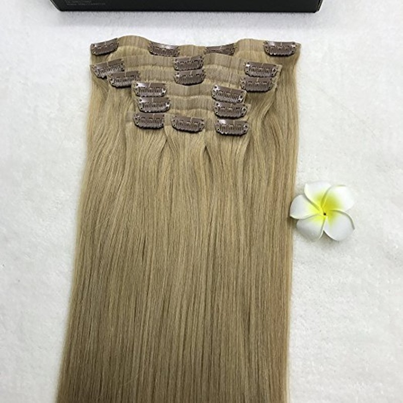 Full Shine 8 Pcs 14″-24″ Ash Blonde Color #18 Clip in Super Thin Invisible Seamless Tape Hair Extensions 100 Real Human Hair