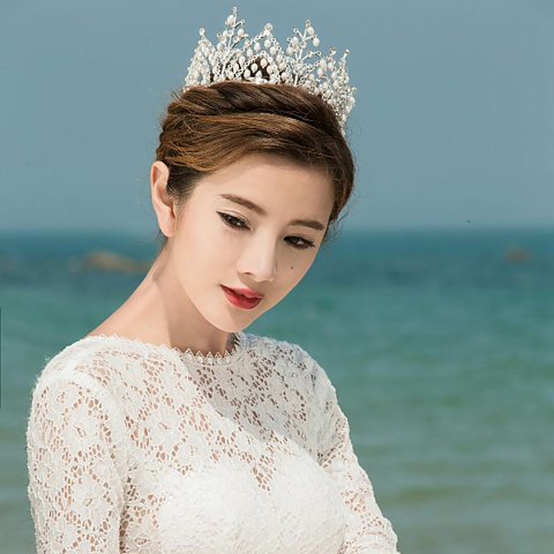 Chic Royal Regal Vintage Special White Gold Plated Crystal Rhinestones King Tiara Crown Veil Crowns For Wedding Prom Parties