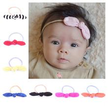 Buy 10 Pcs/lot Cute Newborn Bunny Bows Headband Rabbit Ears Cotton Headwear Elastic Hair Band Kids Hair Accessories Photo props for $9.10 in AliExpress store