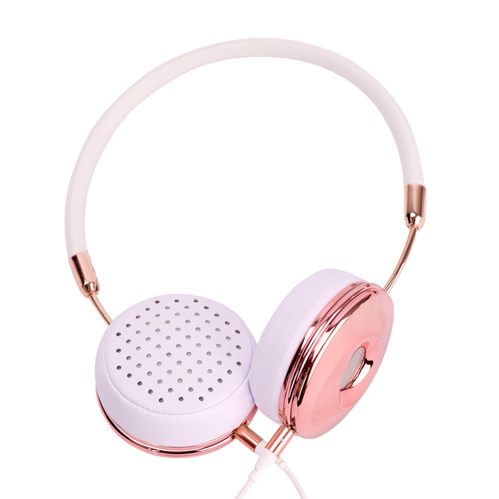Blanou New Wired Foldable Stereo Headphones with Microphone for Music On Ear Headband Rose Gold Headset w/ Storage Bag BH870(Hong Kong)