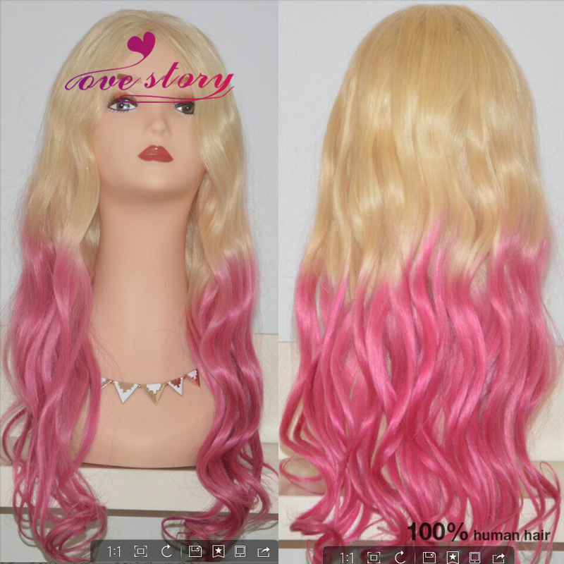 Pink/blonde ombre full lace human hair wigs with baby hair 8a remy human hair brazilian wigs lace front loose wave virgin hair<br><br>Aliexpress