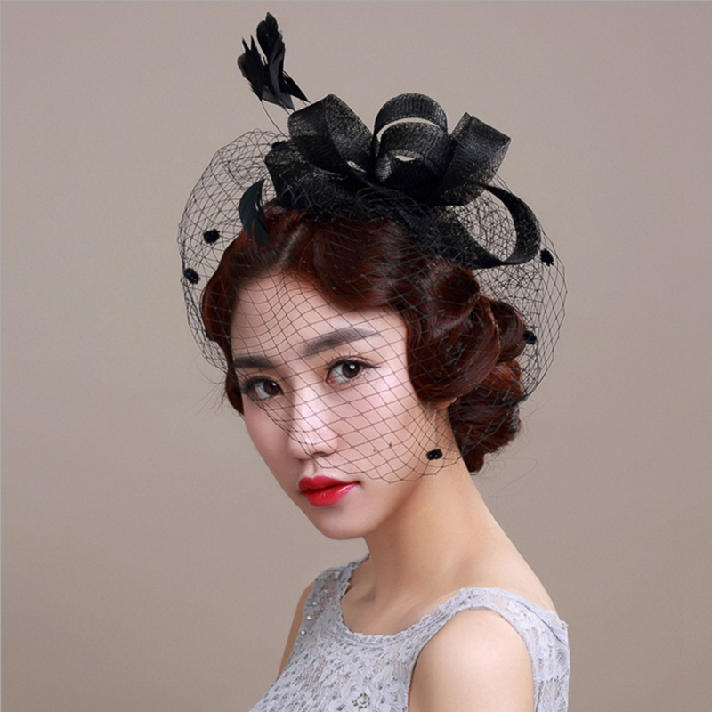 1 Pc Women Chic Fascinator Hat Cocktail Wedding Party Church Headpiece Headband Fashion Headwear Fancy Feather Hair Accessories(China (Mainland))