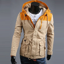 2015 new winter long section of men s casual luxury hooded jacket free shipping A06 5658