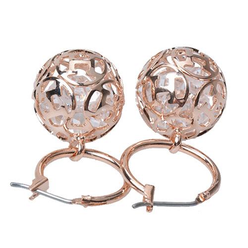 Rose Gold Ball Drop Earrings Round Ball Drop Earrings
