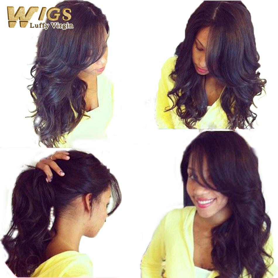 Unprocessed brazilian human hair silk top wigs 100% virgin hair body wave wig glueless full lace wig/lace front wig with bangs(China (Mainland))