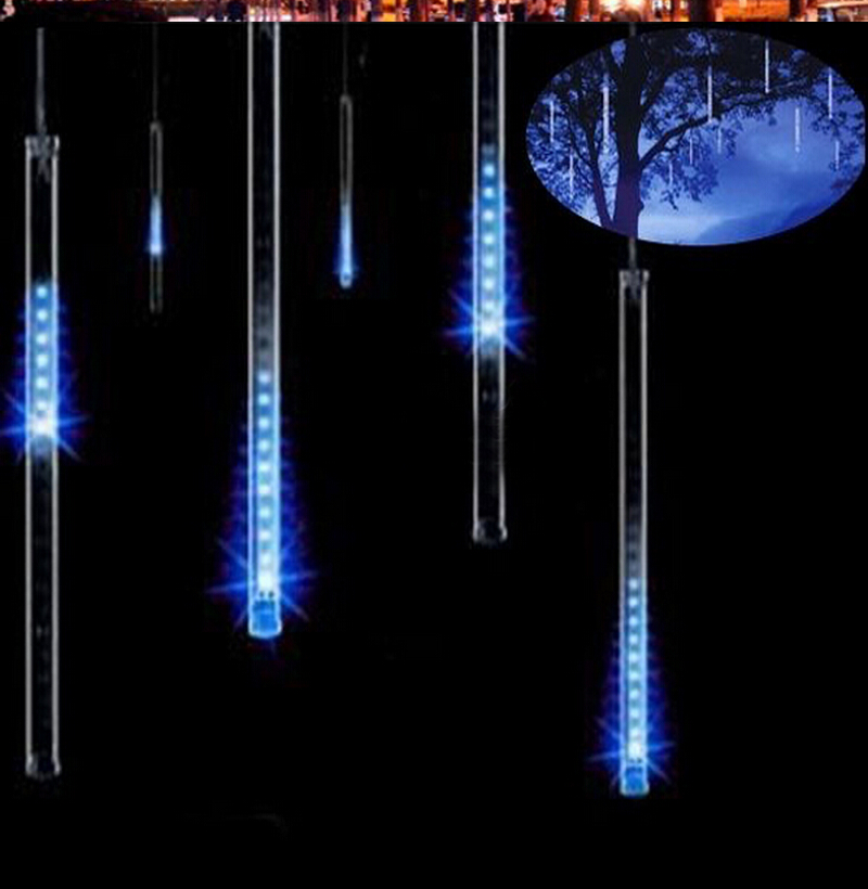 8 tubes rain drop icicle snow fall string led christmas for Decoration with lights