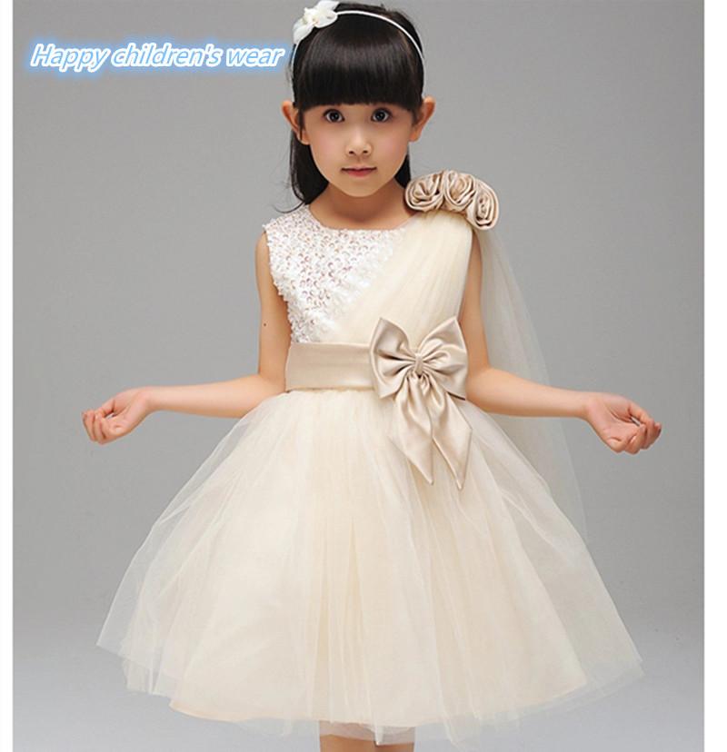 New Year Flower Girls Fashion Party Princess Dress Children Kids Glitter Sparkling Tutu Dresses Birthday baby girl dress(China (Mainland))
