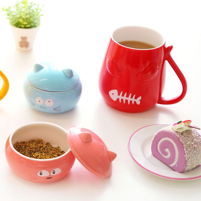 Creative Cute Mug Cat Ceramic Cup With Lid Funny Coffee Mugs Chinese Ceramic Tea Cups(China (Mainland))