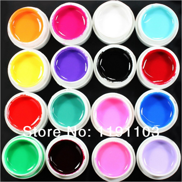 Promotional discounts 16 Pcs Solid Color Mix Pure Nail Art UV Builder Gel Set for Acrylic False Tips(China (Mainland))