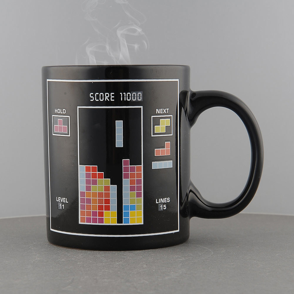 2015 Hot NEW Tetris Pattern Magical Heat Sensitive Color Change Water Milk Mug Coffee Cup