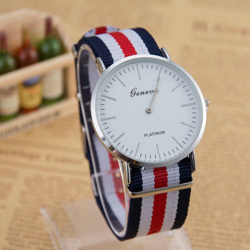 Hot Selling Fashion Luxury Brand GENEVA Nylon Strap Quartz Watches Women Men Military Wrist Watch Relogio