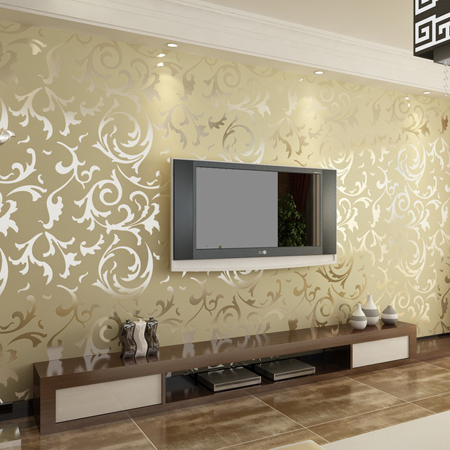 Octavia eco-friendly thick wallpaper fashion tv background wall wallpaper quality flock printing