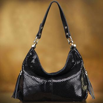 Luxurious Snake Grain First Layer Cowhide Women Handbags Designer 100% Genuine Leather Shoulder Bags With Tassel SN1505