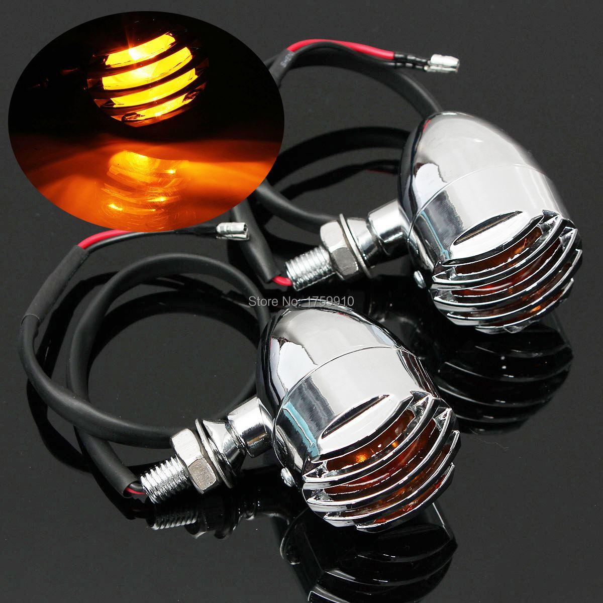 2x 12V Chrome Motorcycle Turn Signal Indicator Lights Blinker Lamp For Harley For Honda Amber For Suzuki For Yamaha 5W<br><br>Aliexpress